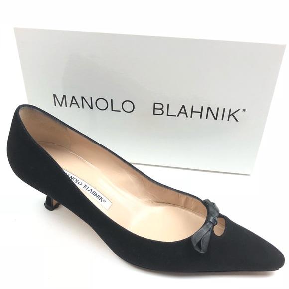 e5e216e2144 MANOLO BLAHNIK pumps 9.5 black Salva Suede heels. M 5b86d6149e6b5b6fd6b9ea89